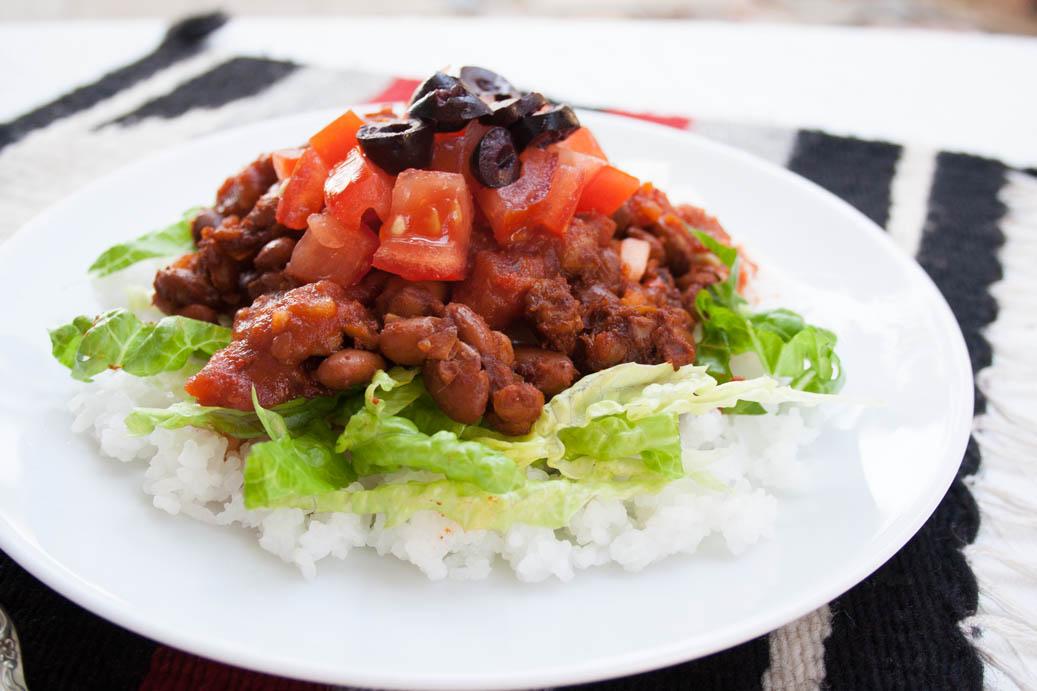 Vegan Taco Rice (Takoraisu) close up.