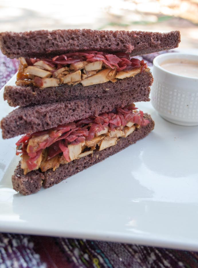 Vegan Teriyaki Reuben with Spicy Thousand Island Dressing stacked.