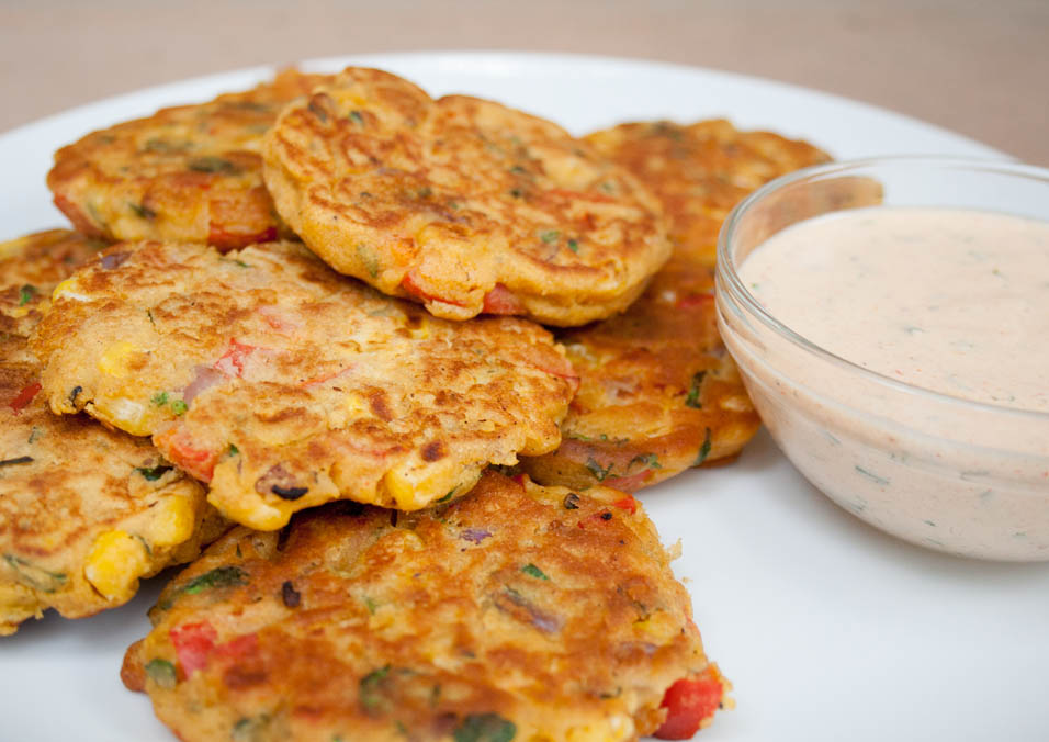 Vegan Vegetable Fritters close up.