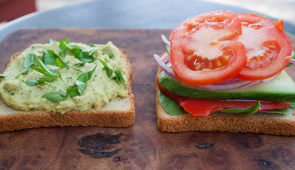 Veggie Sandwich with Basil Pesto Hummus