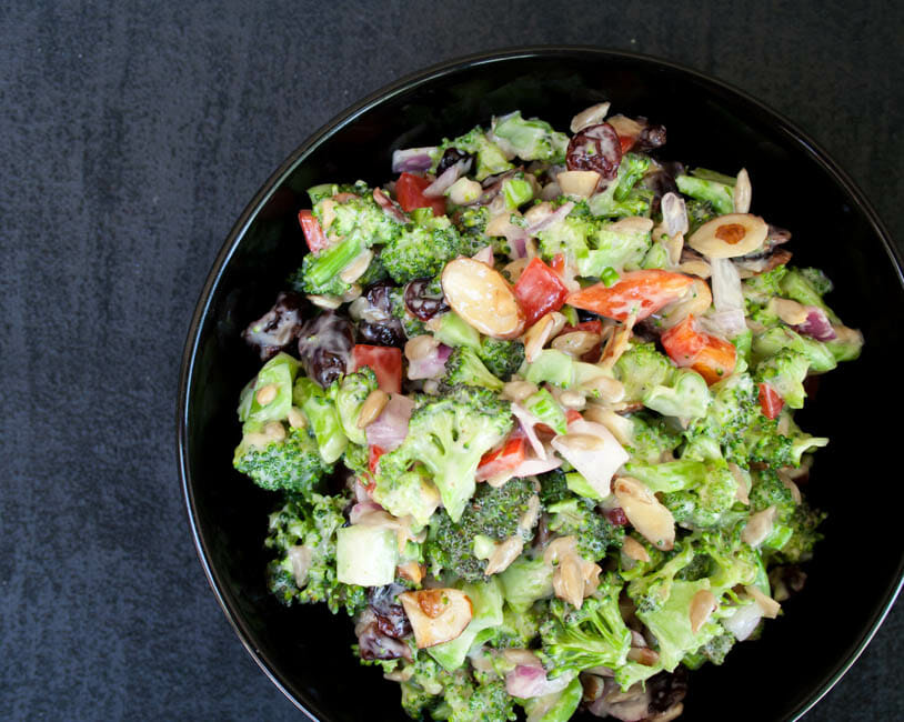 Vegan Broccoli Salad with Dried Cranberries birds eye view.