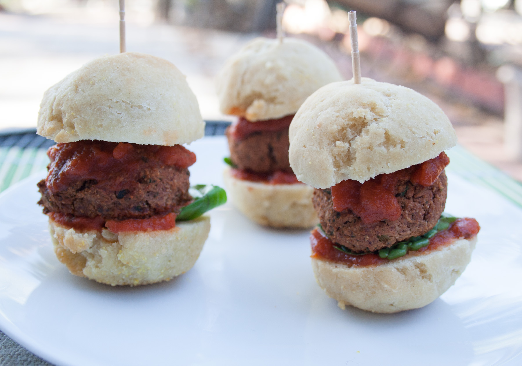 Vegan Meatball Sliders close up.