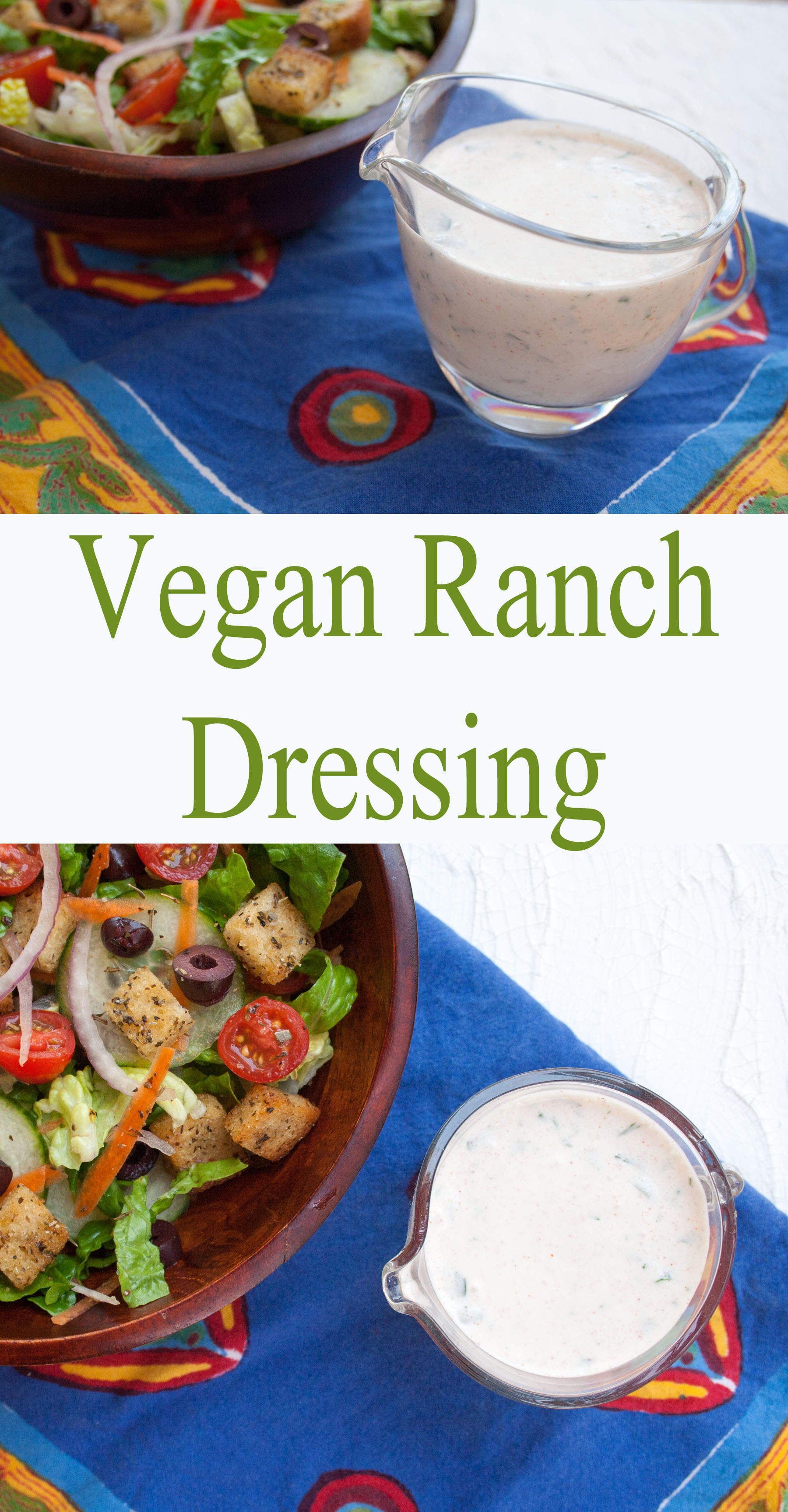 Vegan Ranch Dressing collage photo with text.