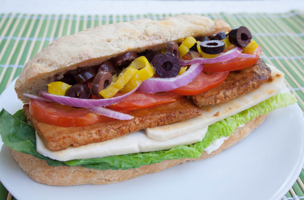 Vegan Submarine Sandwich close up.