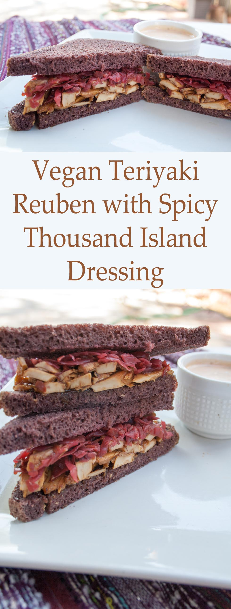 Vegan Teriyaki Reuben with Spicy Thousand Island Dressing collage photo with text.
