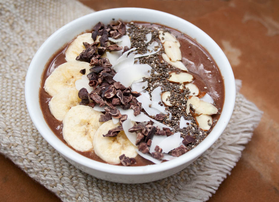 Cacao Smoothie Bowl close up.