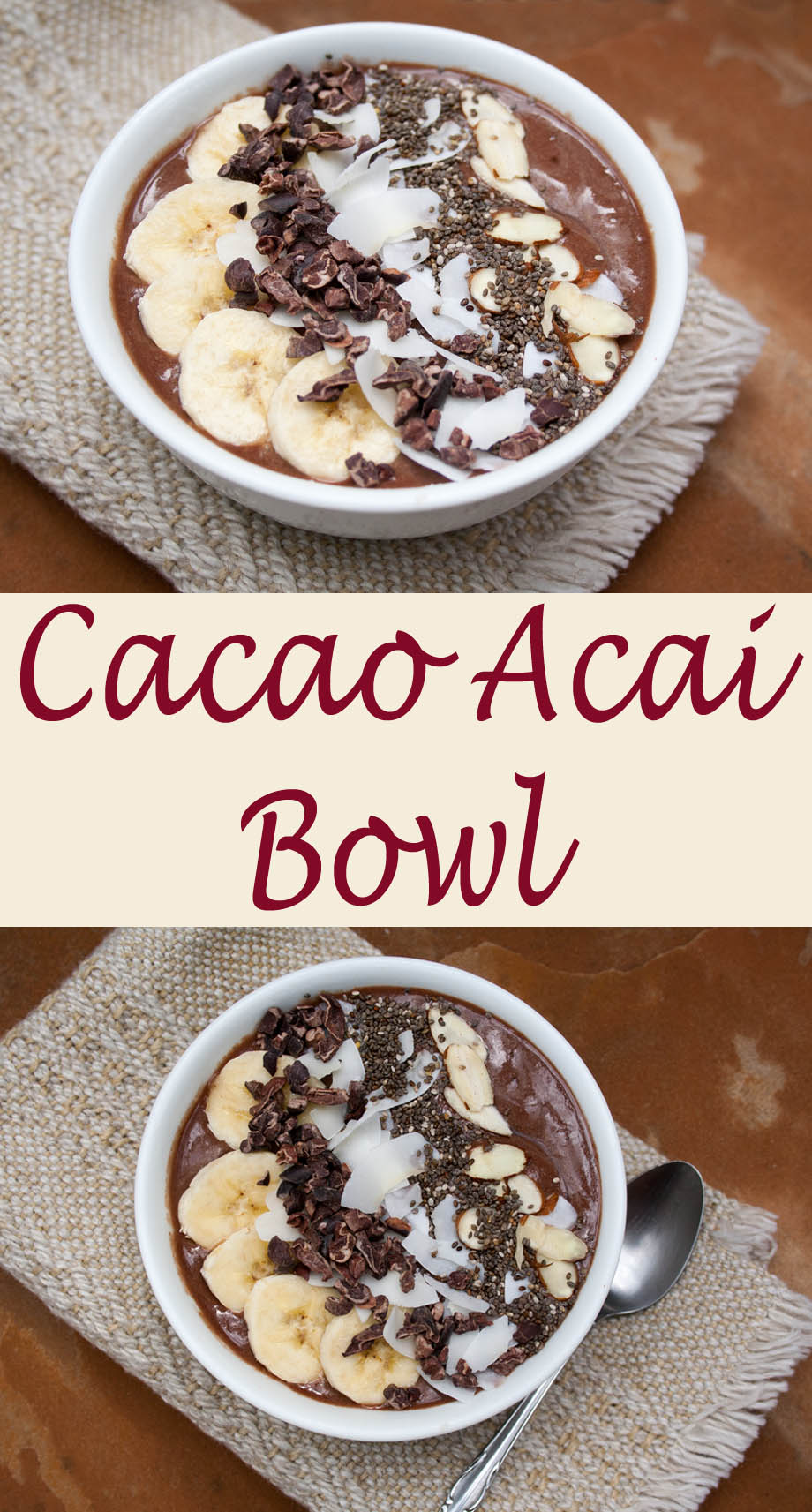 Cacao Acai Bowl collage photo.