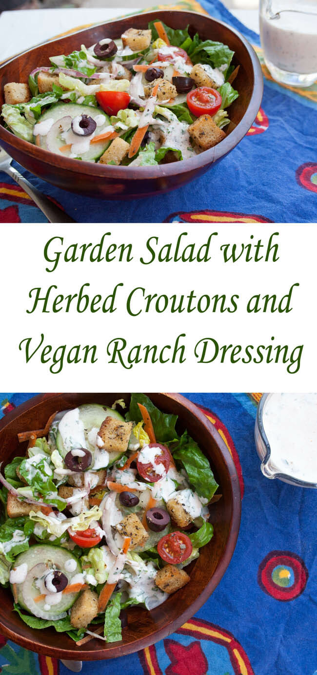 Garden Salad with Herbed Croutons and Vegan Ranch Dressing collage photo with text.