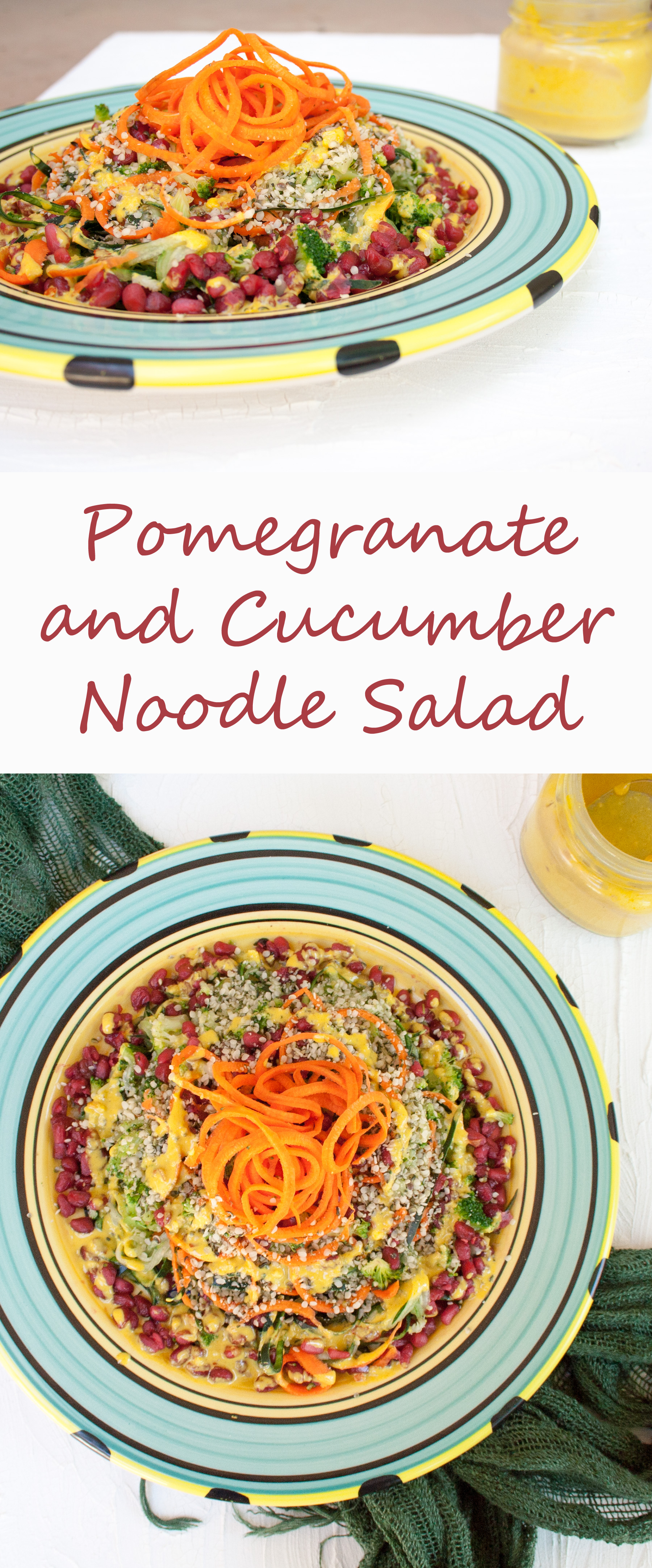 Pomegranate and Cucumber Noodle Salad collage photo with text.