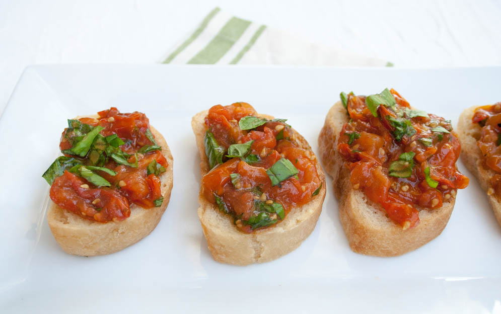 Roasted Tomato Bruschetta close up.