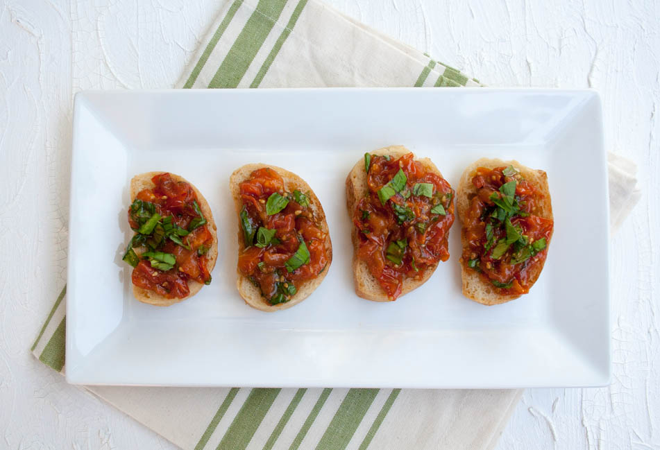 Roasted Tomato Bruschetta birds eye view.