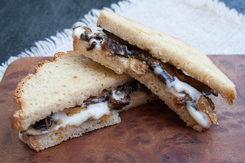 Vegan Caramelized Onion and Mushroom Grilled Cheese close up