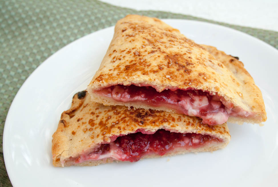 Vegan Raspberry Calzones close up.