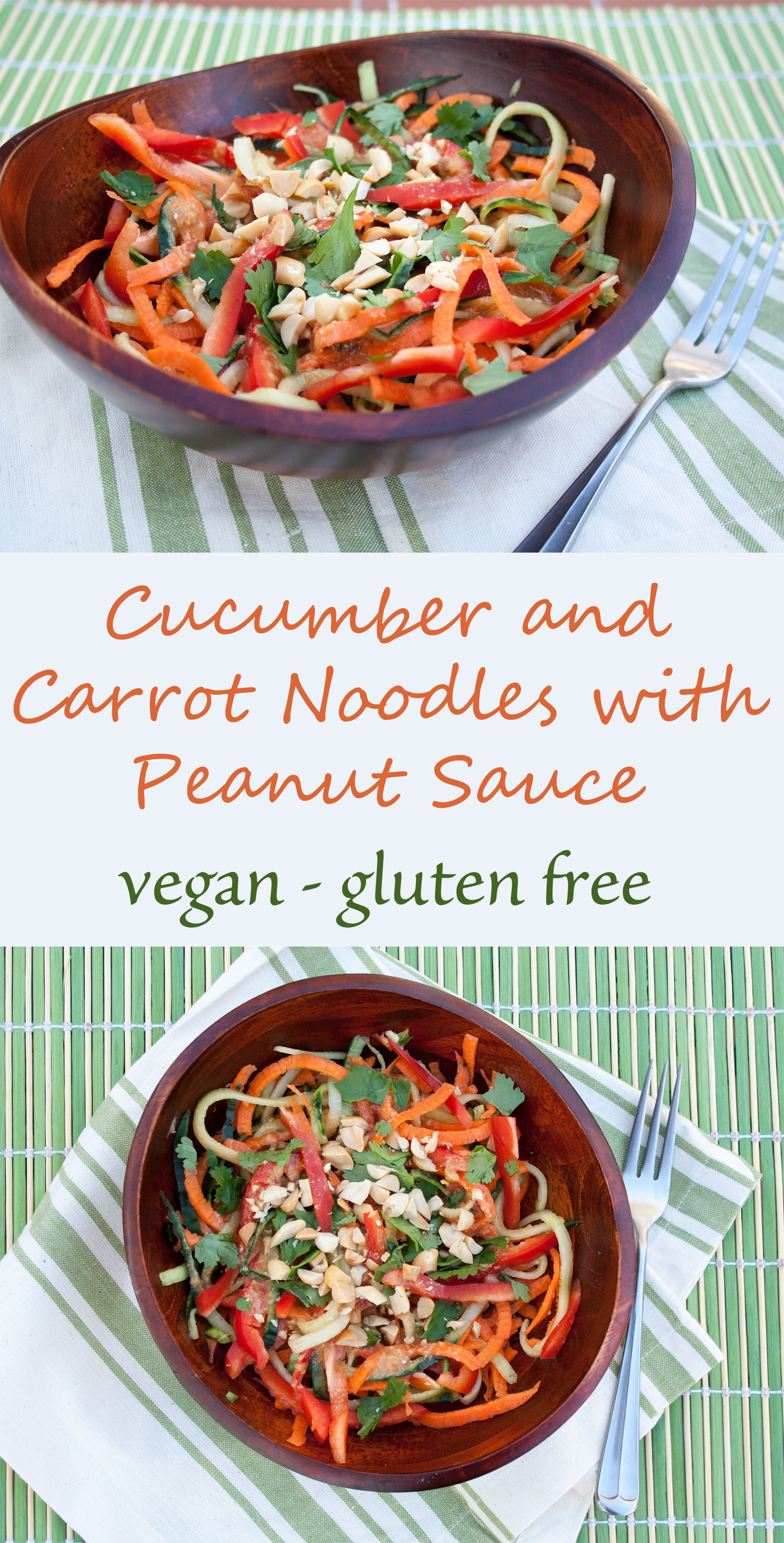 Cucumber and Carrot Noodles with Peanut Sauce collage photo with text.