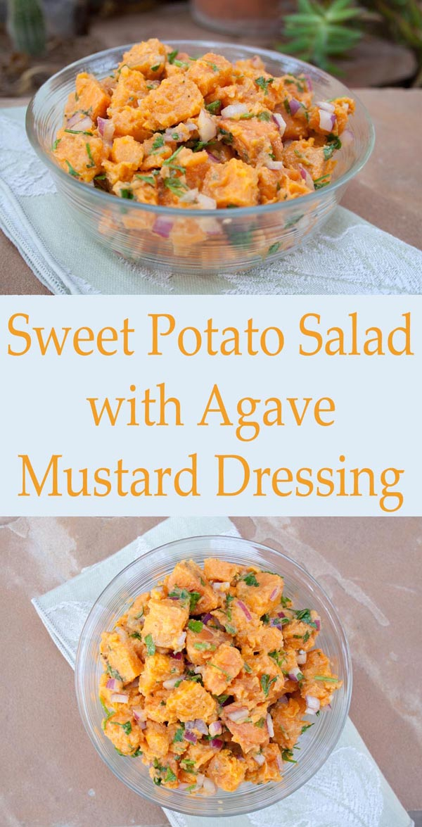 Sweet Potato Salad with Agave Mustard Dressing collage photo with text.