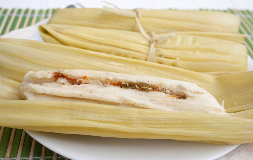 Green Corn Tamales close up.