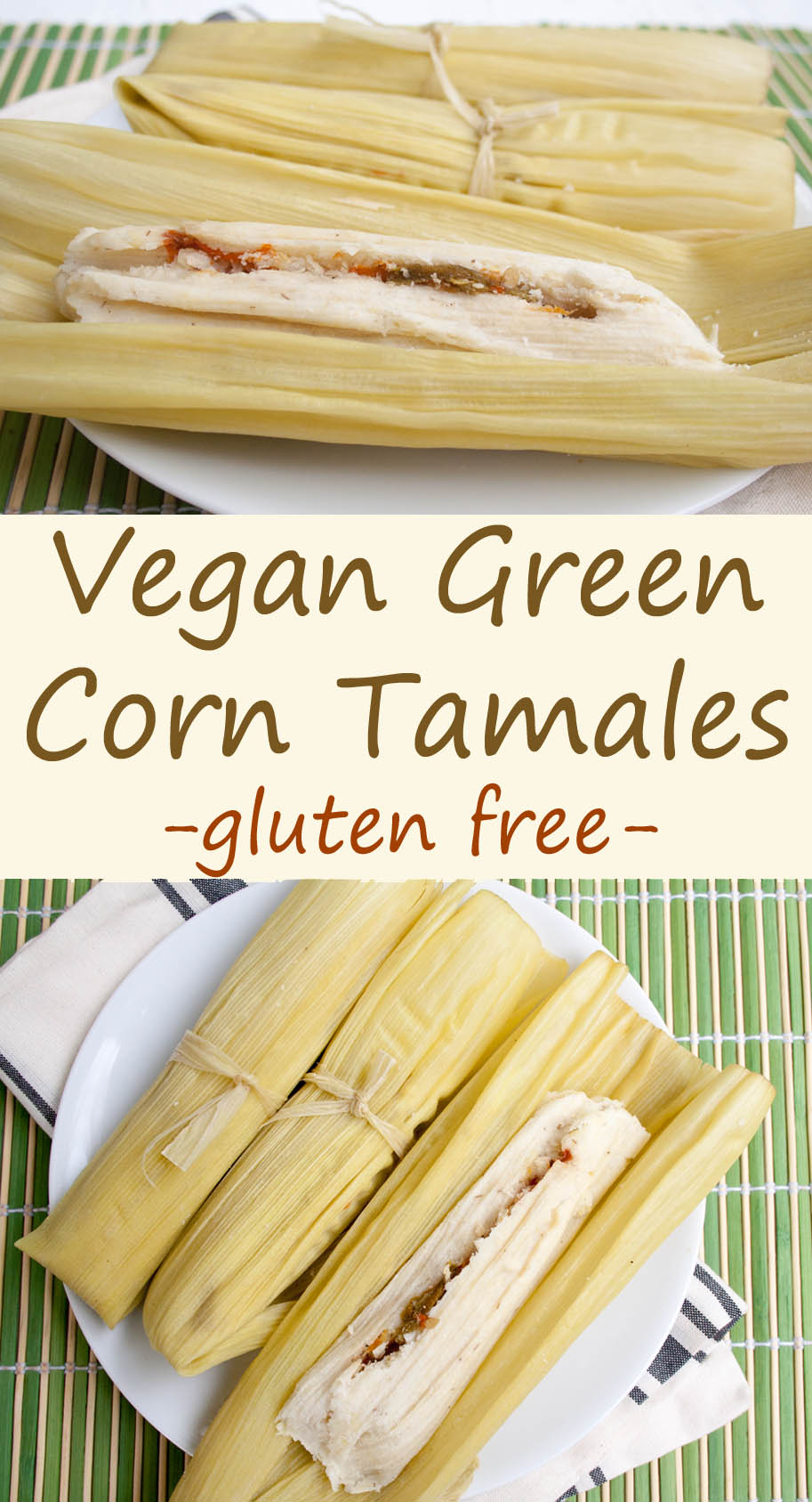 Corn Tamales collage photo with text.