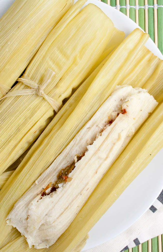 Green Corn Tamales (Tamales de Elote) close up.