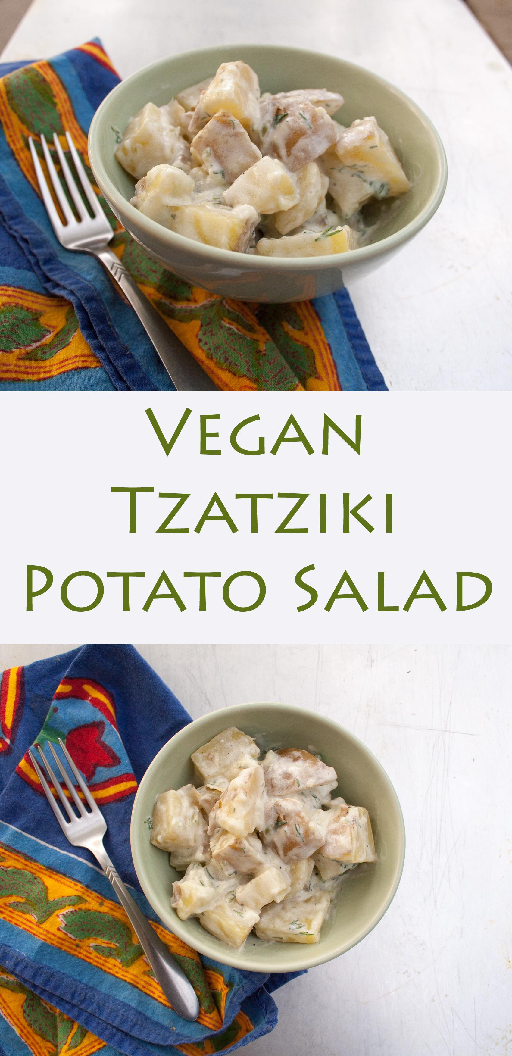 Vegan Tzatziki Potato Salad collage photo with text.