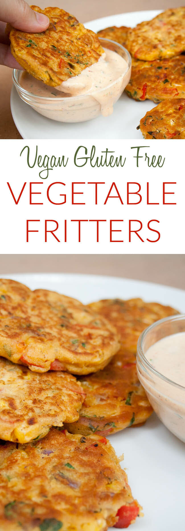 Vegetable Fritters collage photo with text.