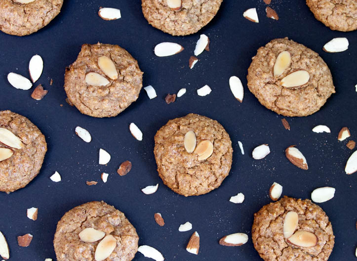 Vegan Keto Cookies made with almonds bird's eye view
