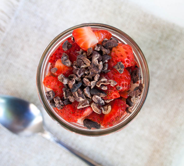 Neapolitan Chia Pudding birds eye view.