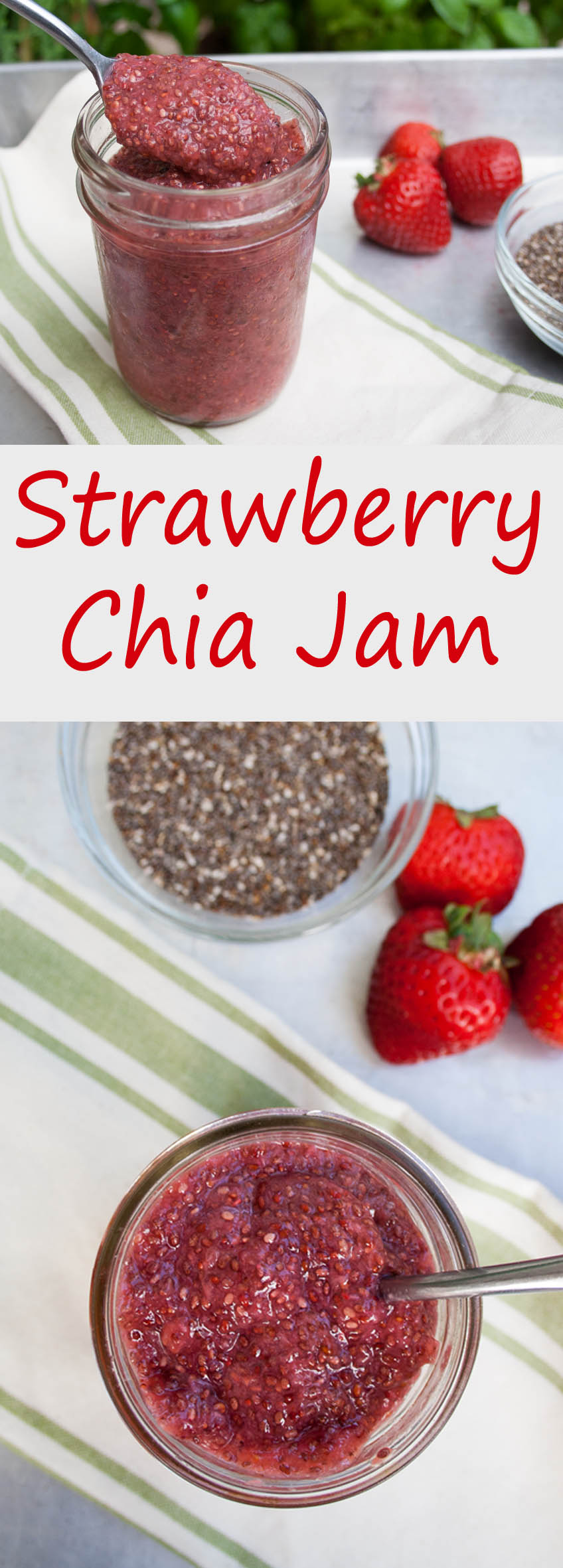 Strawberry Chia Jam collage photo with text