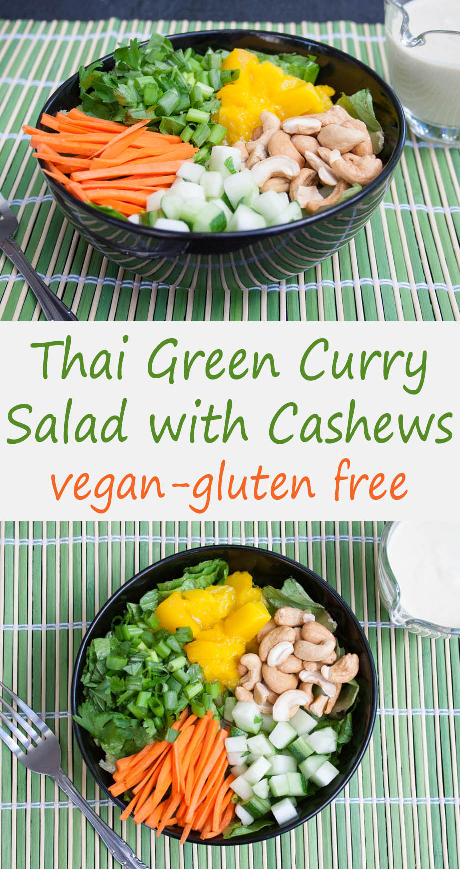Thai Green Curry Salad with Cashews collage photos with text.