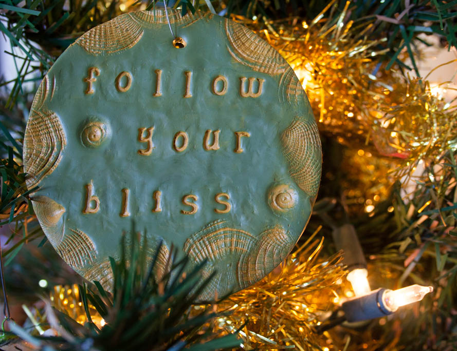 Follow Your Bliss polymer clay ornament.