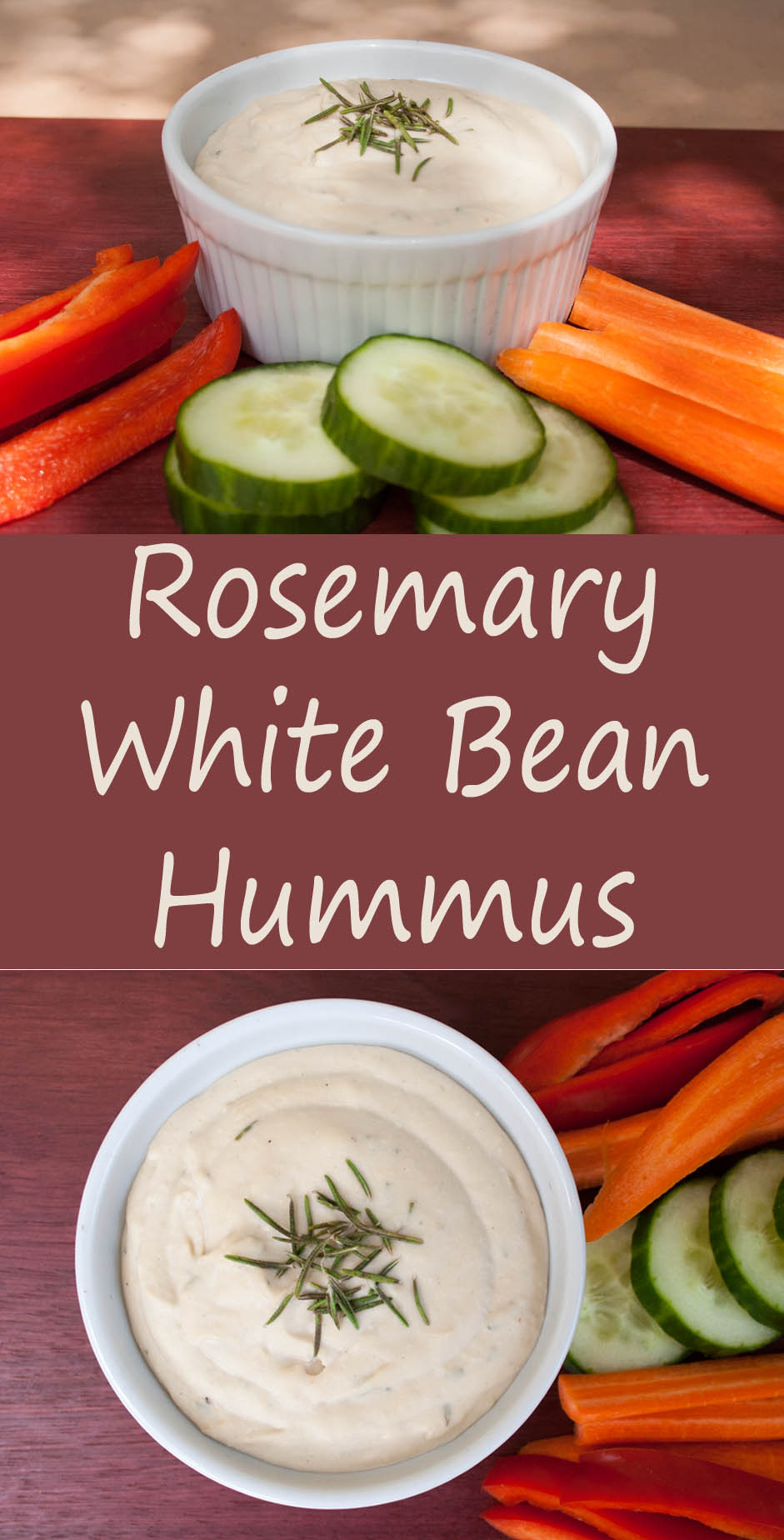 Rosemary White Bean Hummus collage photo with text.