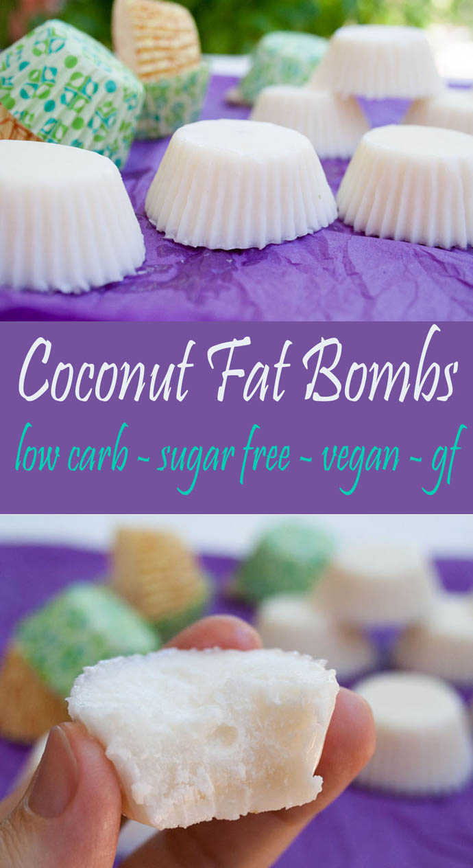 Coconut Fat Bombs collage photo with two photos and text in between.