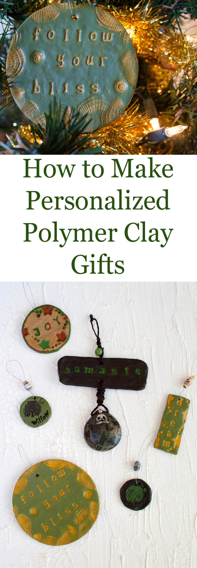 How to Make Personalized Polymer Clay Gifts collage photo with text.