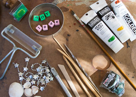 Tools for making polymer clay ornaments.