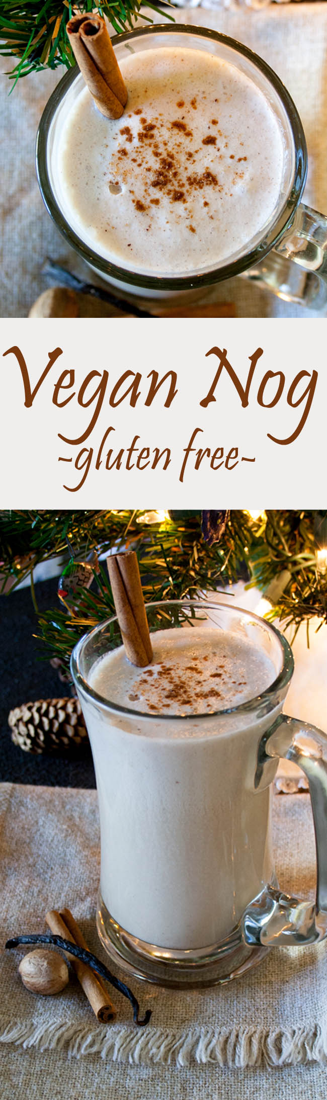 Vegan Nog collage photo with two photos and text in between.