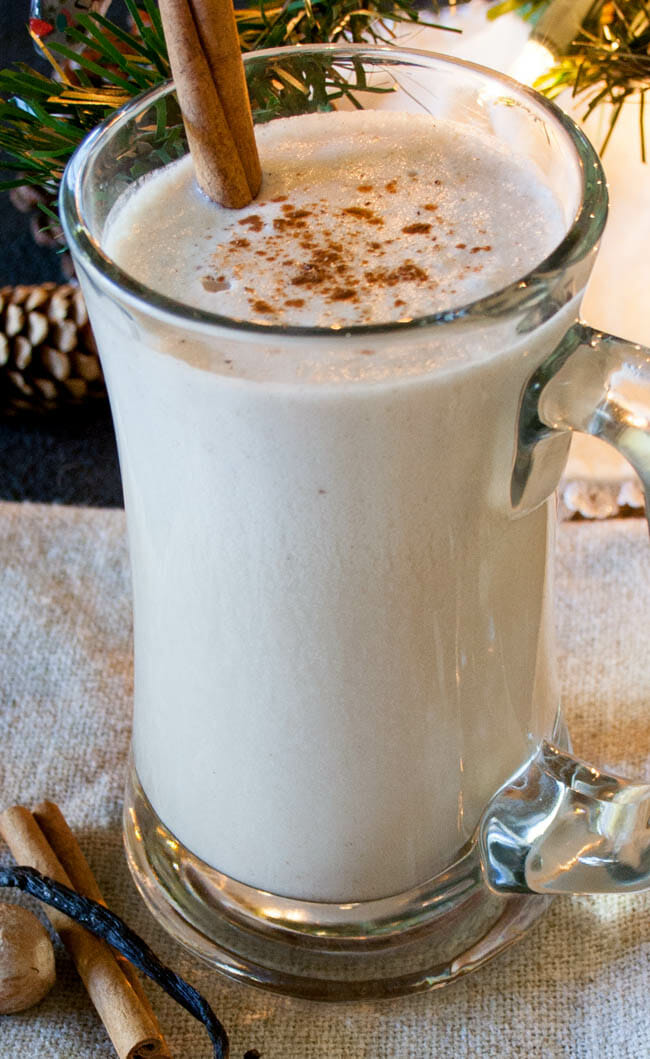 Vegan Nog vertical close up.