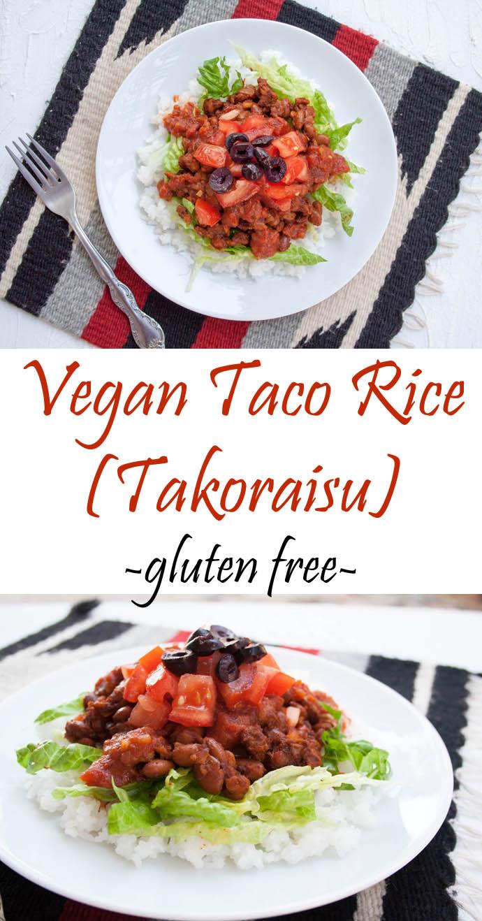 Vegan Taco Rice (takoraisu) collage photo with text.