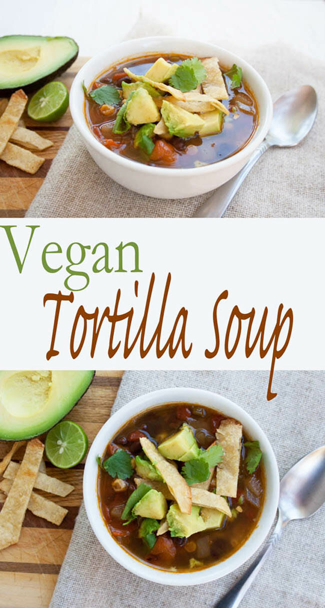 Vegan Tortilla Soup collage pin with text.