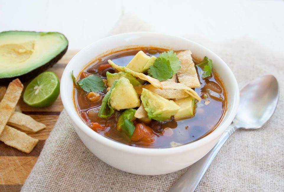 Vegan Tortilla Soup close up.