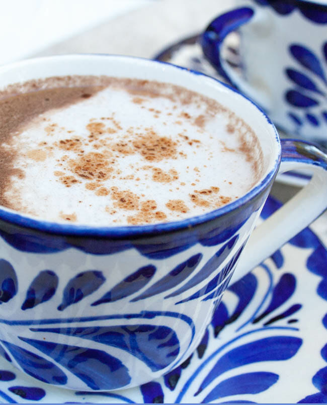 Healthy Mexican Hot Chocolate close up.