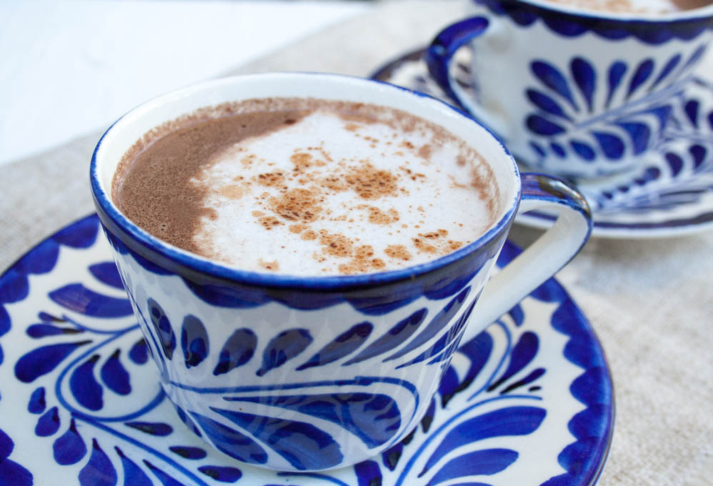 Vegan Mexican Hot Chocolate close up.
