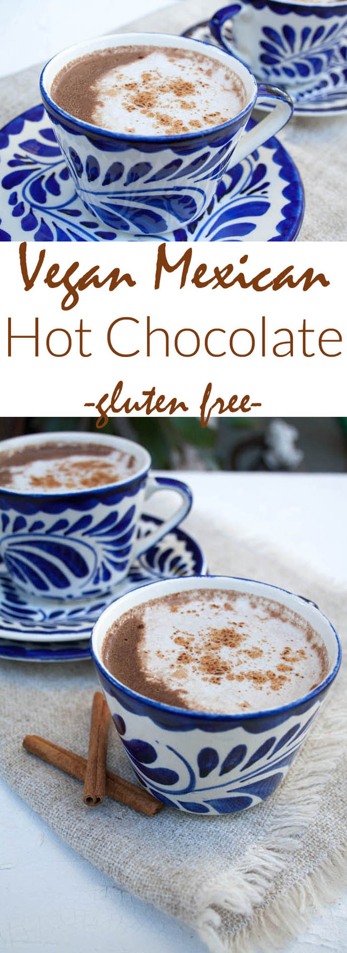Vegan Mexican Hot Chocolate collage photo with two photos and text in between.