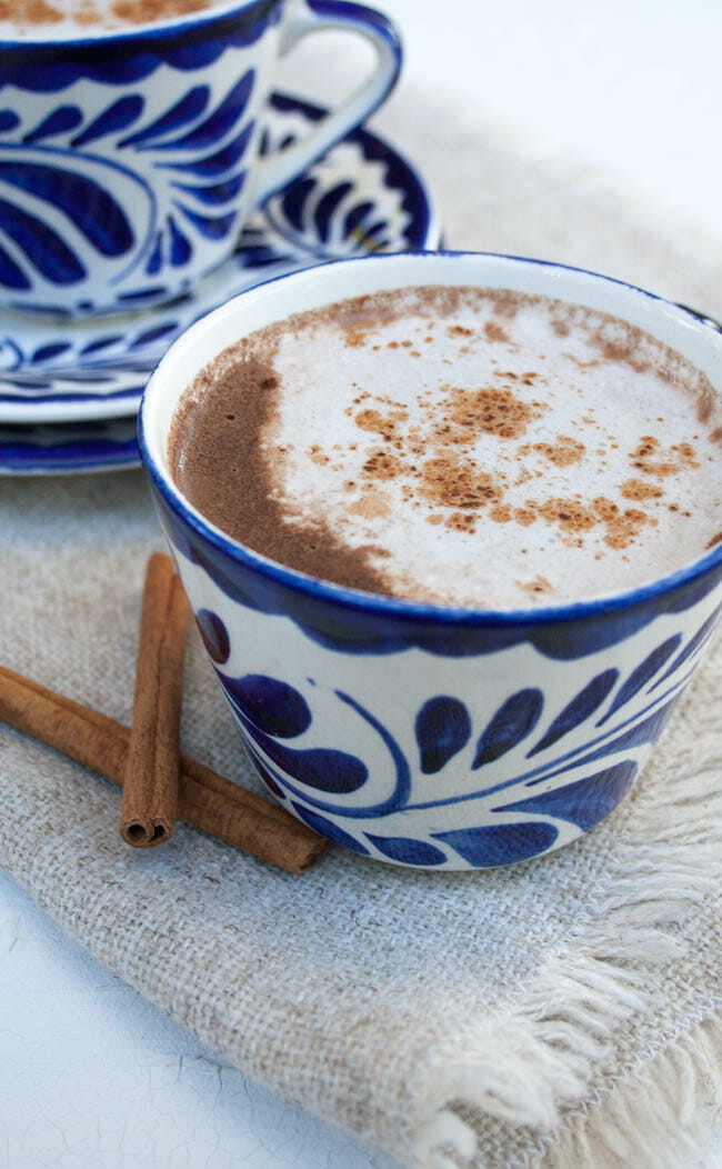 Vegan Hot Chocolate Recipe with Mexican spices close up.