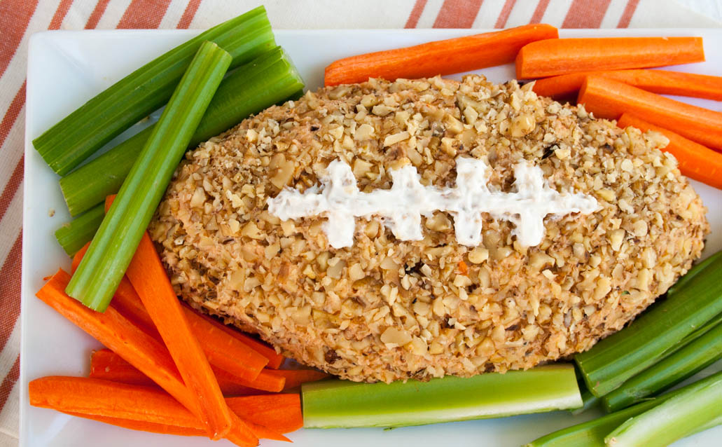 Vegan Pizza Football Cheese Ball close up.