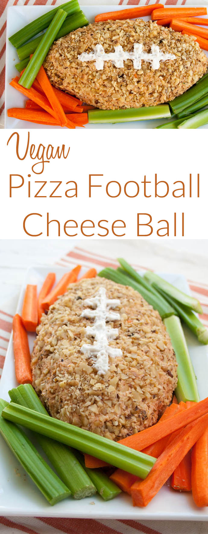 Vegan Pizza Football Cheese Ball collage photo with text.