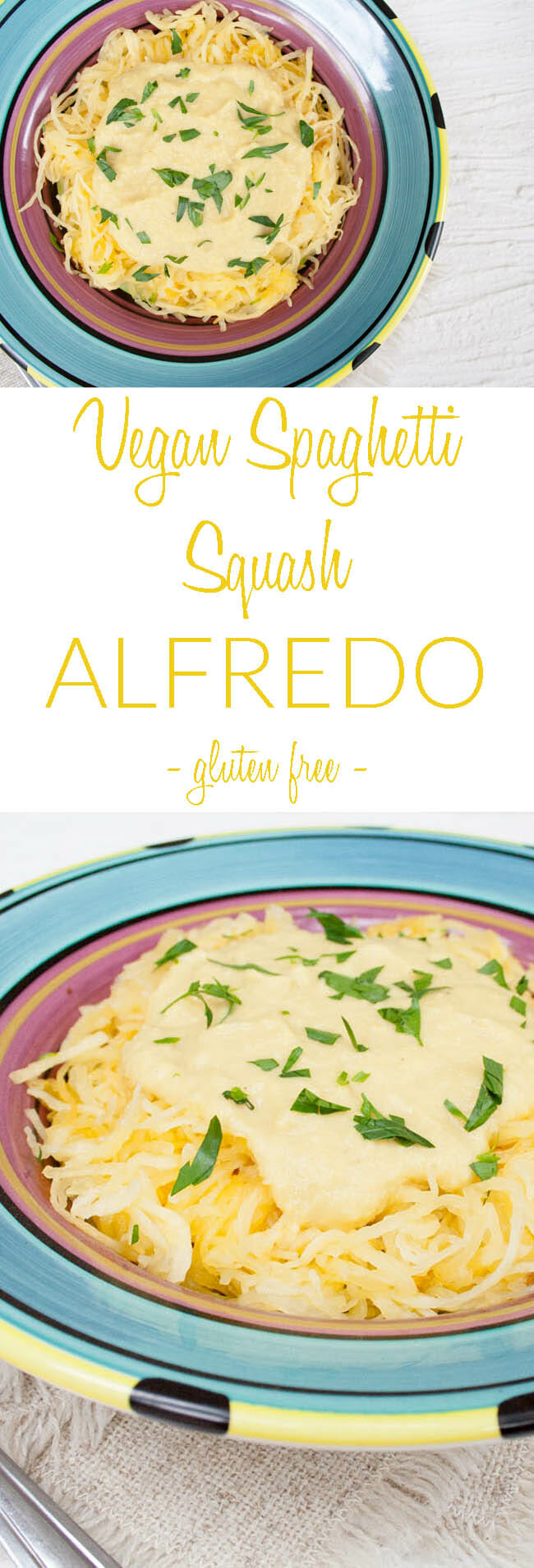 Vegan Spaghetti Squash Alfredo collage photo with text.