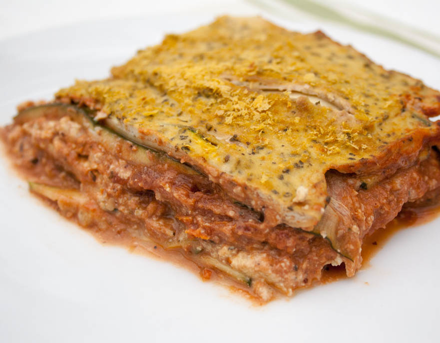 Vegan Zucchini Lasagna with Tofu Ricotta and Walnut Sauce on plate