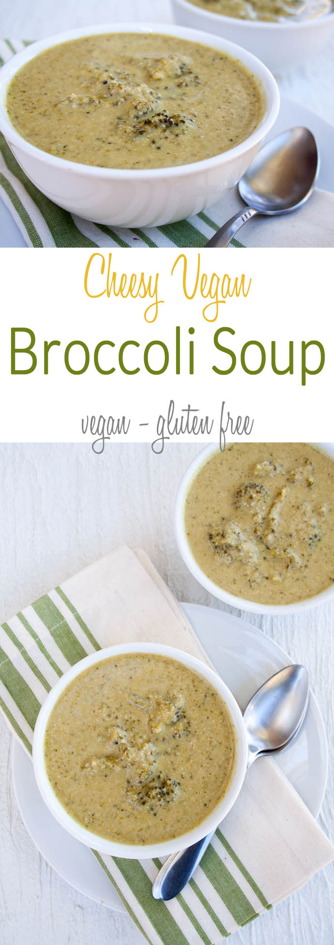 Cheesy Vegan Broccoli Soup collage photo with text.
