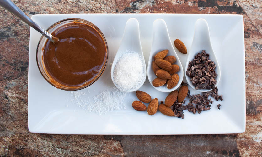 Chocolate Coconut Almond Butter with ingredients.