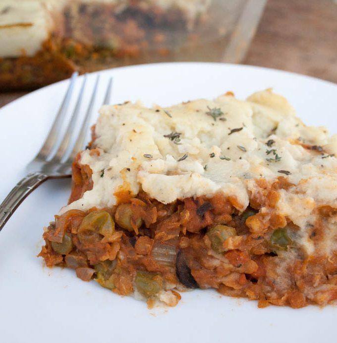 Lentil and Mushroom Shepherd's Pie with Mashed Cauliflower