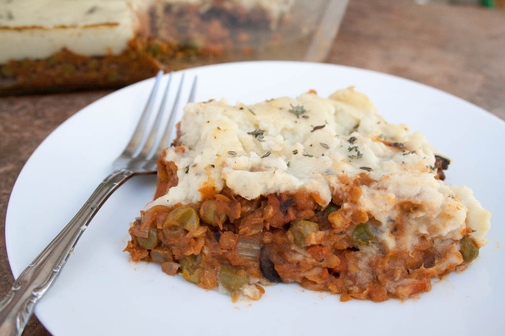 Lentil and Mushroom Shepherd's Pie with Mashed Cauliflower close up